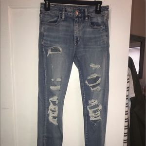 American Eagle Distressed Light Skinny Jeans